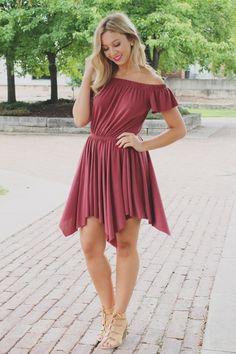 Marsala Off the Shoulder Flutter Handkerchief Hem Dress – UOIOnline.com: Women's Clothing Boutique