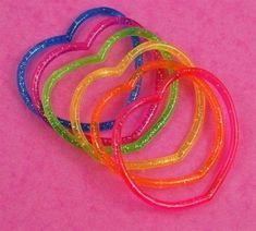 6 x Girls Glitter Heart Jelly Bracelets Bangles Pretty Party Bag Fillers Rainbow Aesthetic, Retro Aesthetic, 90s Childhood, Childhood Memories, Jelly Bracelets, Bangles, Wall Collage, At Least, Girly