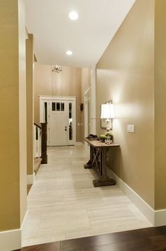 Light tile with a seamless transition to dark wood floor. Perfect! Love the color on the walls!