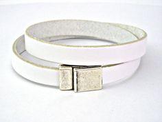 White leather bracelet double wrapped with by TyssHandmadeJewelry