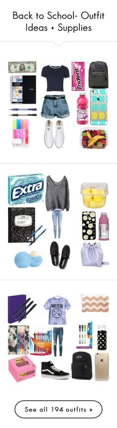 """""""Back to School- Outfit Ideas + Supplies"""" by bubbles-a ❤ liked on Polyvore featuring Topshop, Converse, JanSport, Casetify, Market, Pentel, Rachael Ruddick, Eos, Keds and H&M"""
