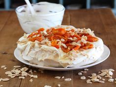Pavlova with Dried Apricots and Roasted Almonds - Maggie Beer, a Barossa Food Tradition Sugar Free Desserts, Sugar Free Recipes, No Bake Desserts, Delicious Desserts, Pavlova, Beer Recipes, Gourmet Recipes, Cooking Recipes, Fish Recipes