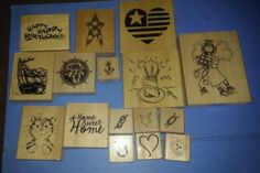 Wooden-Stamp-Lot-of-16-Rubber-Anita-039-s-Nautical-Birthday-Theme-Stars-Angel