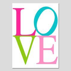 SALE - Love - 5x7 - Hot Pink, Apple Green, Pink, Aqua Turquoise - Girl Bedroom or Nursery. $6.00, via Etsy.