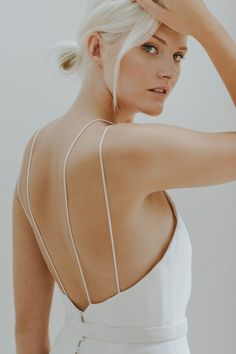 open back wedding dress with double spaghetti strap detail by Charlotte Simpson
