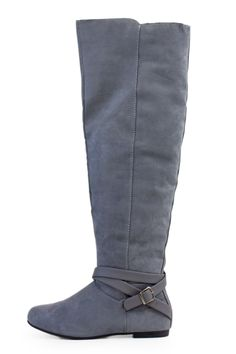 Grey Faux Suede Over The Knee Boots With Strap Accent