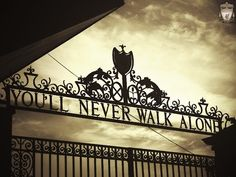 """You'll Never Walk Alone"", Shankly Gates, Anfield, Liverpool (B&W) Liverpool Anfield, Liverpool Home, Liverpool Football Club, Liverpool England, England Uk, Liverpool Fans, Liverpool Fc Wallpaper, Liverpool Wallpapers, Stadium Wallpaper"
