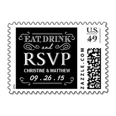 Eat Drink and be Married RSVP Wedding Postage