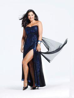 Column Black Strapless Plus Size Long Prom Dress With High Slit