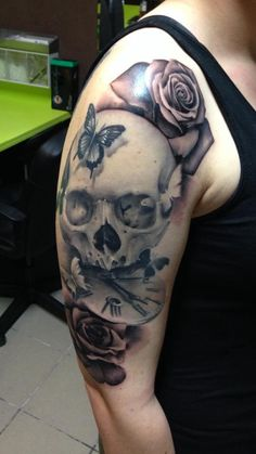 skull rose pocket watch tattoo drawing ink pinterest. Black Bedroom Furniture Sets. Home Design Ideas
