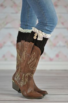 COFFEE ACORN BUTTON BOOT CUFFS These adorable accessory style purposeful boot cuffs with the exceptional quality laced around the top rim and two little buttons give the perfect hug to your calves or ankles.