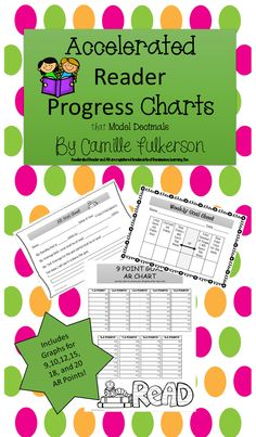 The Accelerated Reader Individual Progress Charts will motivate your students to keep reading! This packet includes goal setting sheets that can be used for 9 weeks, 6 weeks, or even monthly. There is also a weekly goal setting worksheet. I have included directions for how to model decimals with the charts and there is a variety of progress charts for all levels of AR goals. I know you will enjoy using these charts in your classroom. $