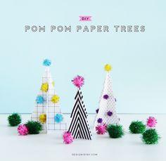 DIY Pom Pom Paper Trees | DESIGN IS YAY!