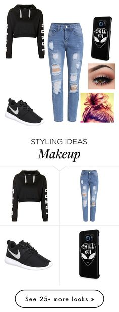 """Untitled #11"" by werewolflover90 on Polyvore featuring Topshop, NIKE, Samsung, women's clothing, women, female, woman, misses and juniors"