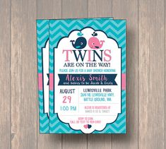 Whale Twins Baby Shower Invitation twin girl twin by Onthegoprints