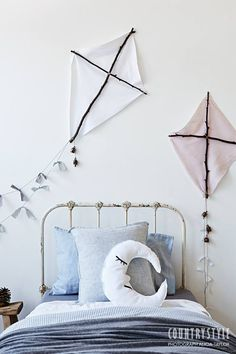 Country Style Magazine. Kids will love having these handmade kites and decorative moon and cloud cushions in their bedrooms. Photography Alicia Taylor, styling Tessa Kavanagh. #kidscraft #kidsbedrooms