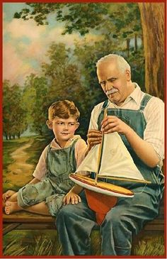 Grandpa and grandson in dungarees with a toy boat. Time Pictures, Art Pictures, Illustrations Vintage, Illustration Art, Vintage Images, Vintage Art, Grands Parents, Grandchildren, Grandma And Grandpa