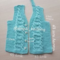 How to knit a vest baby boy vest? Baby Knitting Patterns, Knitting Stiches, Baby Boy Vest, Baby Cardigan, Knit Vest, Filet Crochet, Knit Crochet, Baby Sweaters, Baby Outfits