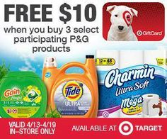 FREE $10.00 TARGET GIFT CARD when you buy 3 participating P&G products in store from 4/13-4/19.  >>>http://bit.ly/1gD7lyC