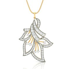 Ribbons N Leaves #Diamond #Pendant : Gold and Diamond #Ring, #Earring, #Pendant Jewelry Collection