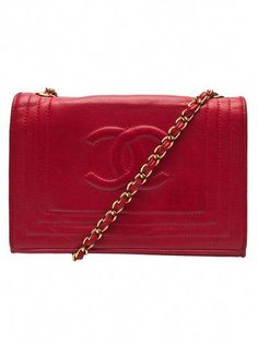 453408564535 Chanel small flap bag in red from Chanel vintage. This vintage lambskin leather  handbag features