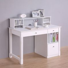Deluxe Solid Wood Desk with Hutch White - Walker Edison : Target