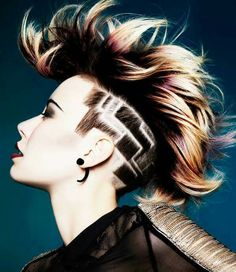 Love this!!! Hair Type, Undercut Pattern, Undercut Hairstyles Women, Undercut Women, Female Hairstyles, Fringe Hairstyles, Haircuts, Shaved Head Designs, Side Undercut