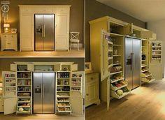 Very cool pantry set up around the fridge