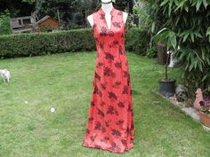 Glittery 1970s Orange and Black Maxi Dress by Petticoatjanevintage, £20.00
