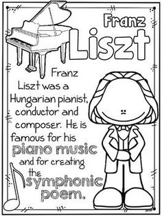 Romantic Composers Coloring Sheets & Fact Sheets for the younger students. #resources #composer
