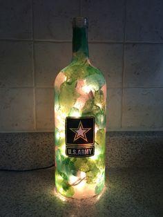 US Army wine bottle lamp