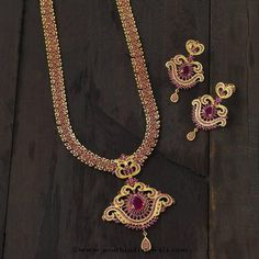 Gold Plated Ruby Long Necklace Designs, Ruby Long Haram Designs.