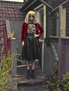 Choies Fake Leather Midi Skirt, Unif Velvet Moto Jacket