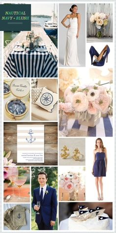 navy and blush... pretty. Nautical wedding repinned by dazzlemeelegant.com/
