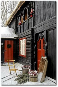 Barn Door Red Home.Timber Frame Exterior Doors New Energy Works. Peek Inside This Mind Blowing 'Barn Mansion' In Utah. Buy American Barn Style Sheds Best Sheds. Home and Family Deco Champetre, Country Christmas, Christmas Holiday, Xmas, Outdoor Christmas, Christmas Lodge, Christmas Photos, Christmas Scenery, Christmas Tables