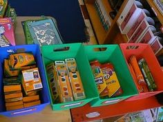 Dealing with school supplies on the first day of school...this lady leaves a paper grocery bag with each child's name at their desk so when they come in the first day they can put all supplies in the bag and the teacher can set them all aside until after school to sort through them. This will really free up my morning and it will be less chaotic!
