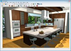 This Is My Ideal Kitchengas Range On The Island With Bar Stools Beauteous Design My Kitchen Free Online 2018