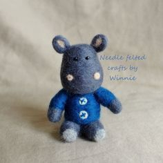 Needle felted Herbert the Hippo by FunFeltByWinnie on Etsy