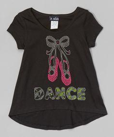 Black 'Dance' Slippers Hi-Low Tee - Toddler & Girls