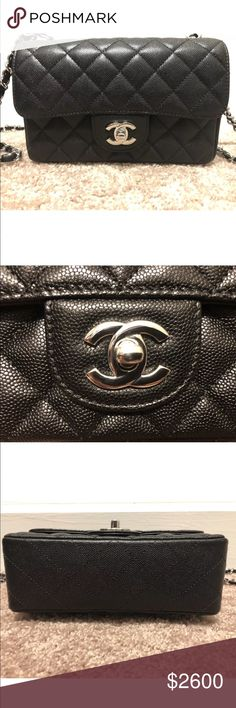 Chanel Black Caviar Mini Rectangular Flap Bag Authentic and great condition Chanel black caviar mini rectangular Flap bag with silver hardware. It's in like new condition, barely used. Comes with the card of authenticity and dustbag. Can be worn on a shoulder in crossbody position, or the chain can be tucked in to be worn as a clutch. Great for the evening or as a casual bag. Thanks! ❌ NO TRADES ❌ P :) CHANEL Bags