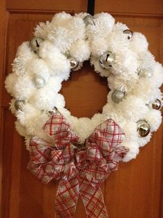 Holiday White and Silver Pom Pom Wreath by KDSalesOnline on Etsy, $54.95