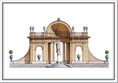 Andrew Zega and Bernd H. Dams, watercolor, Sceaux, Belvedere in demi-lune
