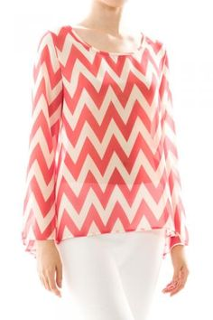 Coral Chevron Top Spring Summer Women's Fashion Easter Outfits
