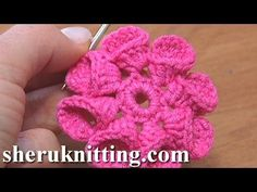 8 Petaled folder crochet flower, Lo♥e Crochet Flower Petals Folded to Left Tutorial 21 Freeform Crochet, Irish Crochet, Crochet Motif, Crochet Stitches, Crochet Lace, Crochet Flower Tutorial, Crochet Flower Patterns, Crochet Designs, Knitted Flowers