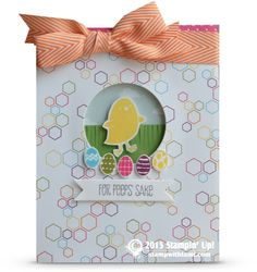 """Here's a stinkin' cute """"For Peeps Sake"""" window card for Easter. Love this little chickie in the window, which was created with the Stampin Up Shaker Frames and the Circle Framelits, with a Window Sheet under the DSP."""