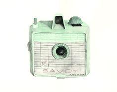 vintage camera watercolor giclee art print // SAVOY // 8X10 print - home decor -- wall art
