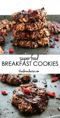 Healthy Snacks Discover No Bake Superfood Breakfast Cookies-The Almond Eater Cookies made from bananas and oats and filled with plenty of superfood mix-ins for a HEALTHY breakfast cookie Breakfast On The Go, Breakfast Bake, Breakfast Cookies, Vegan Breakfast, Breakfast Ideas, Healthy Cookies, Healthy Breakfast Recipes, Healthy Desserts, Healthy Breakfasts