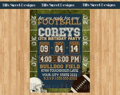 Football Party Football Party Invitation by TiffsSweetDesigns.maybe make it for a grad party if they allow. Nfl Party, Sports Party, Party Games, 13th Birthday Parties, Grad Parties, Happy Birthday, Football Party Invitations, Football Birthday, Thanksgiving Sale