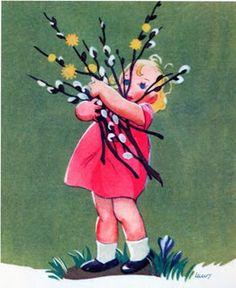 i love pussy willows. do they have then there nat Retro Kunst, Retro Art, Vintage Cards, Vintage Images, Vintage Drawing, Easter Parade, Vintage Easter, Vintage Children, Spring Sign