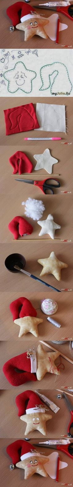 DIY Beautiful Star Christmas Ornament DIY Beautiful Star Christmas Ornament by diyforever Felt Christmas Ornaments, Christmas Art, Christmas Projects, Christmas Holidays, Fabric Ornaments, Beautiful Christmas, Felt Decorations, Christmas Decorations, Felt Crafts